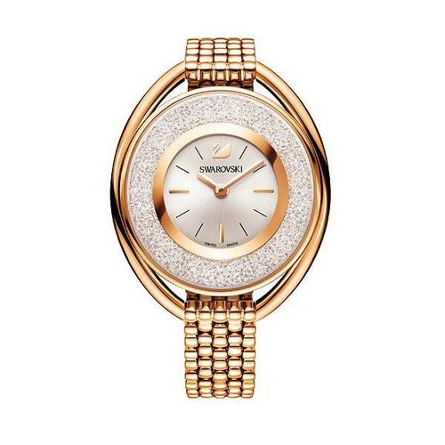 Crystalline Oval Rose Gold Tone Bracelet Watch