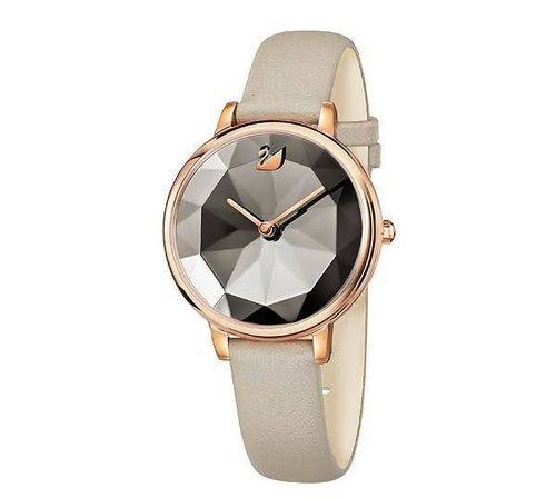 MONTRE CRYSTAL LAKE, BRACELET CUIR, GRIS, OR ROSE