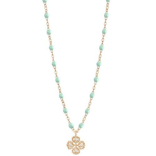 Collier jade Lucky Trèfle, diamants or rose, 42 cm